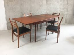 mid century white and newton teak extendable dining table with