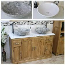 Oak Bathroom Vanity Units Solid Oak Bathroom Vanity Unit Cabinet Twin Marble Bowl Basin Tap