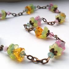 vintage glass crystal necklace images Glass flower and swarovski crystal necklace jpg