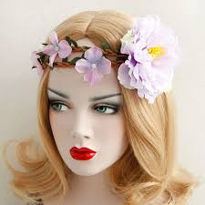 big flower headbands women headbands bohemian pink artificial big flower vine crown