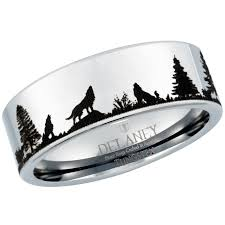 men tungsten rings images Wolf howling landscape men 39 s tungsten ring by delaney rings jpg