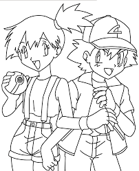 pokemon coloring pages misty misty and ash coloring pages