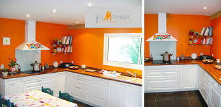 peinture orange cuisine peinture cuisine orange inspirant awesome cuisine avec mur orange