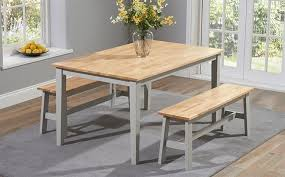 Table With Benches Set Bench Excellent Dining Table Sets The Great Furniture Trading