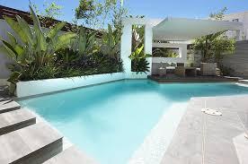 Backyard Small Modern Custom Pool Area White Covered Outdoor - Custom backyard designs
