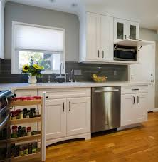 hidden microwave kitchen transitional with grey cabinets modern