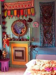 bohemian home decor for bedroom with tapestry and mirror