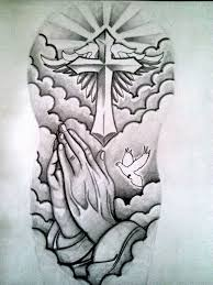 black and grey religious cross with wings and praying