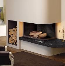 bathroom wall fireplace brown varnished wood credenza shelves