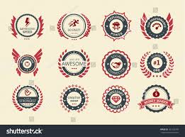 shades of color achievement badges games applications two shades stock vector