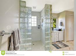 glass block designs for bathrooms shower with glass block trim stock photo image 44366782