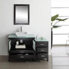 virtu usa brentford 54 inch single sink bathroom vanity tempered