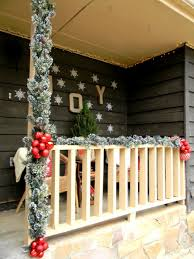 wondrous front christmas outdoor deco showing enchanting white
