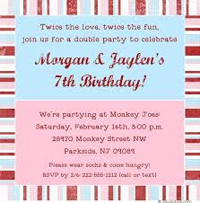 sibling birthday invitation pink blue photos joint