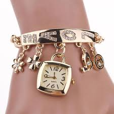 bracelet wrist watches images Fashion women love rhinestone chain bracelet wrist watch square jpg