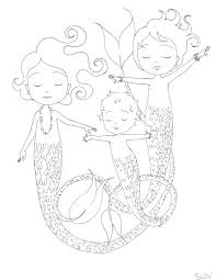 sleeping mermaids coloring page u2014 slovly