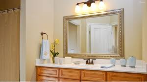 Wallpaper In Bathroom Ideas by Big Mirror With Golden Frame In Bathroom Wallpaper