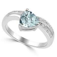 aquamarine and diamond ring trillion cut aquamarine diamond engagement promise ring