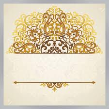 vintage ornate card in east style golden victorian floral decor