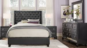 upholstered bedroom set sofia vergara paris black 7 pc king upholstered bedroom king