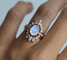 wedding set wedding ring set moonstone engagement ring set of 3