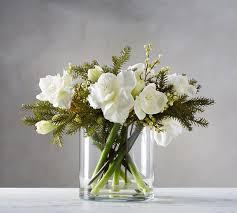 Silk Amaryllis Flowers - faux amaryllis u0026 pine composed arrangement pottery barn