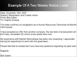 two week notice email samples