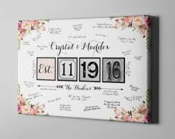 anniversary guest book guest book canvas etsy
