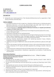 Resume Format For Mechanical Mechanical Technician Cv