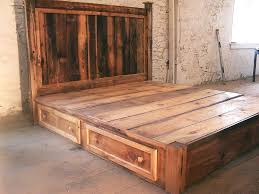 Bed With Headboard And Drawers Custom Made Reclaimed Rustic Pine Platform Bed With Headboard And