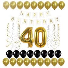 40th balloons happy birthday banner and streamers set for 40th