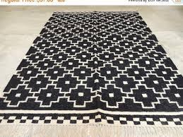 Geometrical Rugs Custom Kilim Hand Knotted Woven Black White Geometrical Discovered