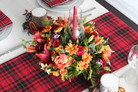 harvest centerpiece with tartan tablescape fresh by ftd