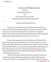 esop loan and pledge agreement sample esop loan and pledge