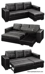 Sectional Sofa With Storage Chaise 1054 Gianni Black Color Reversible Pu Leather 2 Pc