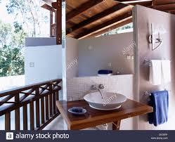 Outdoor Bathroom For Pool by Circular Basin In Outdoor Bathroom On Veranda Beside Swimming Pool