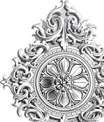amazing antique rosette scrolls ornament graphics