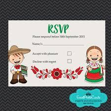 Party Invitations With Rsvp Cards Mariachi Wedding Invitations Red Green Matching Reservation Card