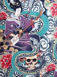 Tattoo Home Decor Zen Charmer Alexander Henry All Cotton Fabric Japanese Inspired