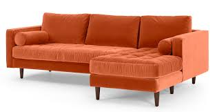 Orange Sofa Bed by Scott 4 Seater Right Hand Facing Chaise End Sofa Burnt Orange