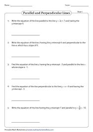 slope intercept form of equation of a line worksheets
