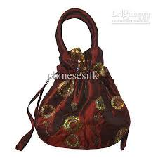 purse gift bags sequins embroidery tote purse satin fabric large gift bag