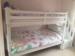 Staircase Bunk Bed White Waxed Built In Storage Steps Bedtime Bedz - White bunk beds uk