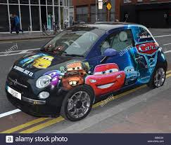 A Fiat 500 Car Painted In Pixar And Walt Disney Cars 2 Promotional