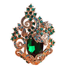 funmor retro green large peacoke crystal brooches vintage jewelry