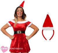 ladies santa costume fancy dress pvc plus size dress hat miss