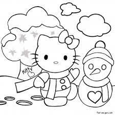 print out merry christmas hello kitty coloring pages printable