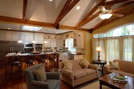 kitchen livingroom traditional cottage kitchen livingroom design vaulted beam