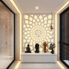 a hypnotic u0027aum u0027 back lit panel in the pooja room pooja corners