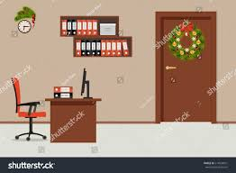 office room decorated christmas decoration there stock vector